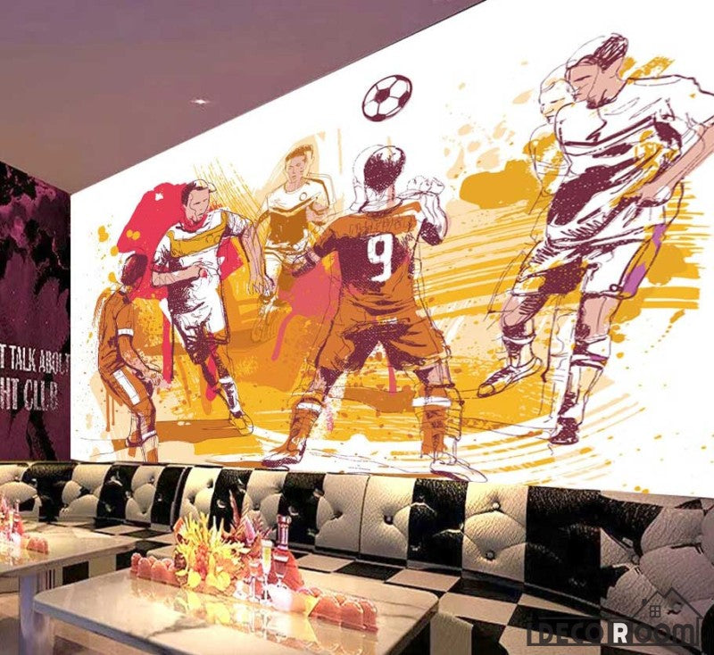 Graphic Design Drawing Football Players Restaurant Ktv Club Art Wall Murals Wallpaper Decals Prints Decor IDCWP-JB-001171