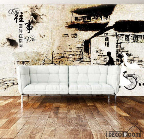 Image of Drawing Old City China Living Room Art Wall Murals Wallpaper Decals Prints Decor IDCWP-JB-001172