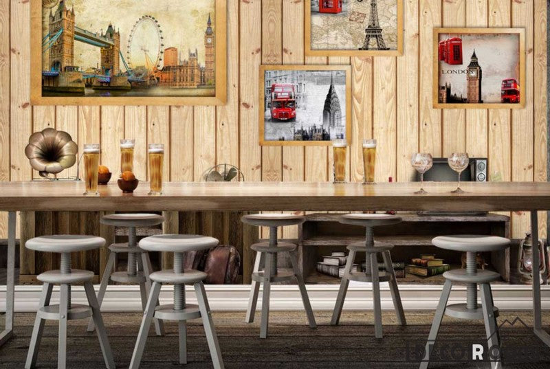 Wooden Wall 3D Photography London Restaurant Living Room Art Murals Wallpaper Decals Prints Decor IDCWP