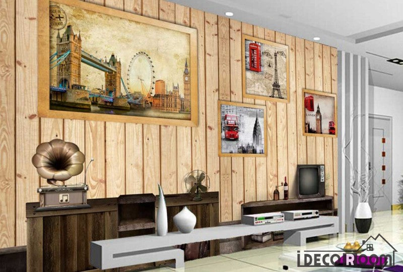Wooden Wall 3D Photography London Restaurant Living Room Art Wall ...