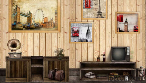 Image of Wooden Wall 3D Photography London Restaurant Living Room Art Wall Murals Wallpaper Decals Prints Decor IDCWP-JB-001175
