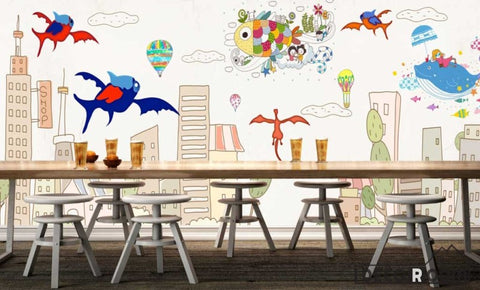 Image of Kids Cartoon Illustration Flying Fish Restaurant Art Wall Murals Wallpaper Decals Prints Decor IDCWP-JB-001176