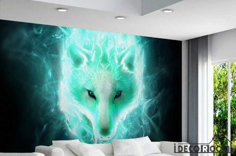 Image of Graphic Design White Wolf Green Flames Living Room Restaurant Art Wall Murals Wallpaper Decals Prints Decor IDCWP-JB-001177