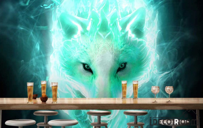 Graphic Design White Wolf Green Flames Living Room Restaurant Art Wall Murals Wallpaper Decals Prints Decor IDCWP-JB-001177