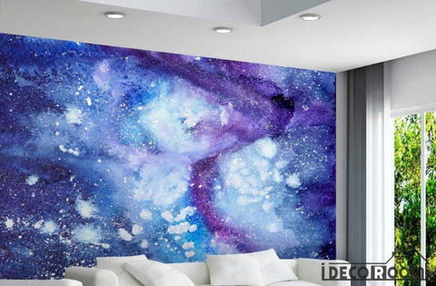 Image of Purple Space Background Living Room Art Wall Murals Wallpaper Decals Prints Decor IDCWP-JB-001178