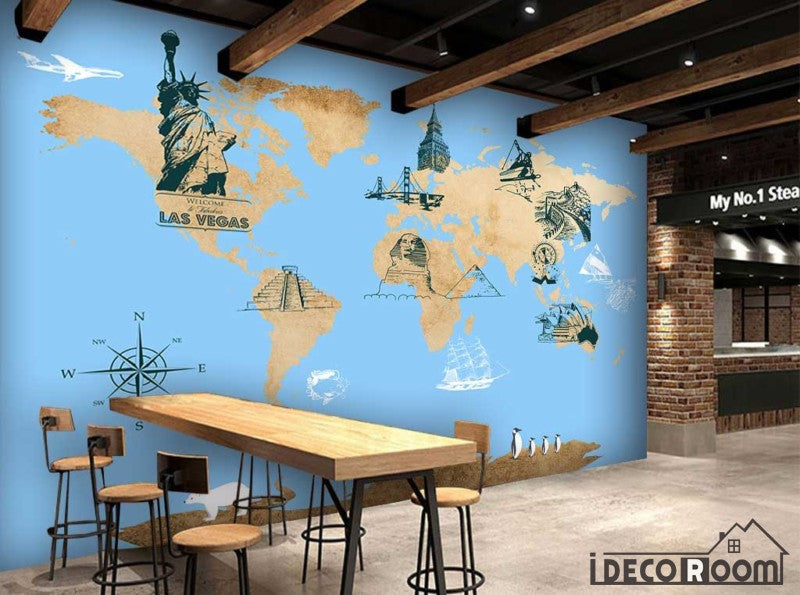 Drawing World Map Icon City Monuments Restaurant Art Wall Murals