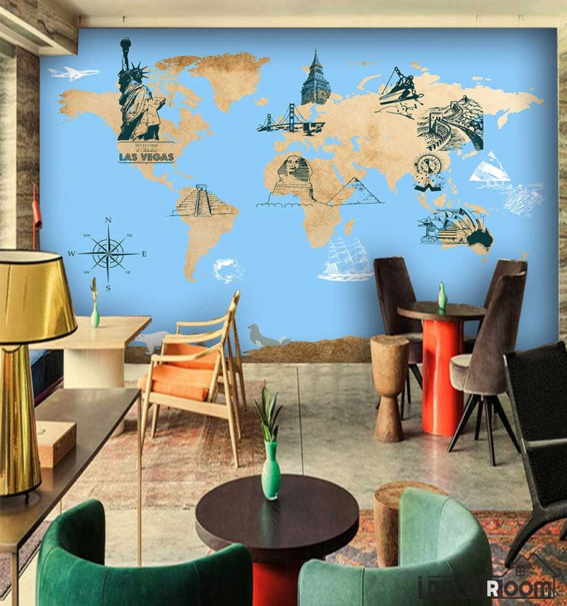 Drawing world map icon city monuments restaurant art wall murals drawing world map icon city monuments restaurant art wall murals wallpaper decals prints decor idcwp gumiabroncs Choice Image