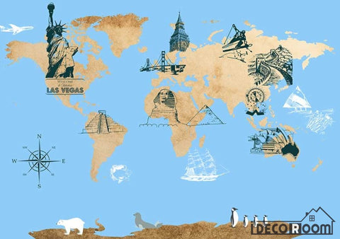 Image of Drawing World Map Icon City Monuments Restaurant Art Wall Murals Wallpaper Decals Prints Decor IDCWP-JB-001179
