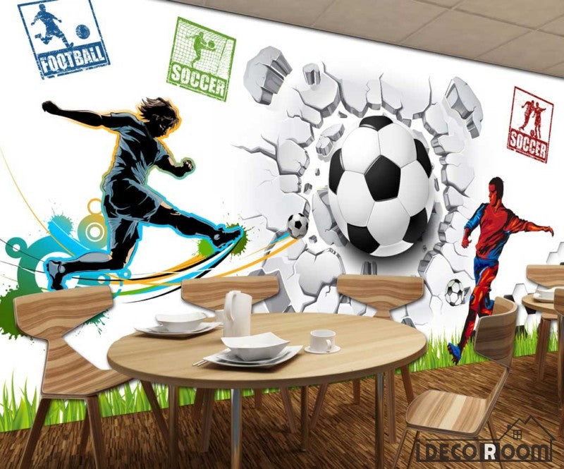 White Wall 3D Football Ball Breaking Through Wall Soccer Players Restaurant Art Wall Murals Wallpaper Decals Prints Decor IDCWP-JB-001180