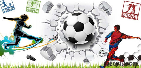 Image of White Wall 3D Football Ball Breaking Through Wall Soccer Players Restaurant Art Wall Murals Wallpaper Decals Prints Decor IDCWP-JB-001180