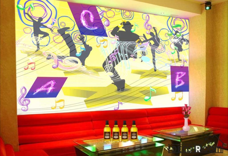 Graphic Design Colorful Drawing Silhouette People Dancing Ktv Club ...