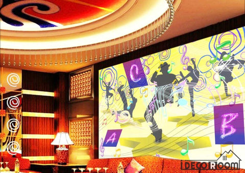 Image of Graphic Design Colorful Drawing Silhouette People Dancing Ktv Club Art Wall Murals Wallpaper Decals Prints Decor IDCWP-JB-001181