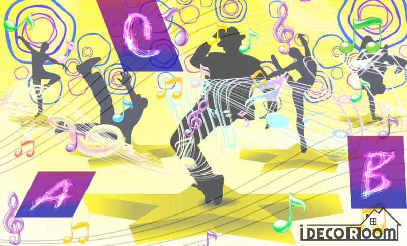 Graphic Design Colorful Drawing Silhouette People Dancing Ktv Club Art Wall Murals Wallpaper Decals Prints Decor IDCWP-JB-001181