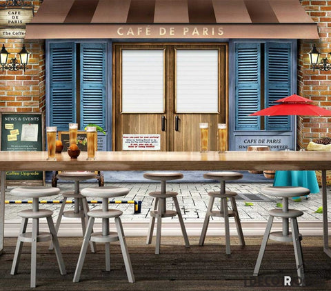 Image of Cafe De Paris Coffee Shop Background Restaurant Art Wall Murals Wallpaper Decals Prints Decor IDCWP-JB-001185