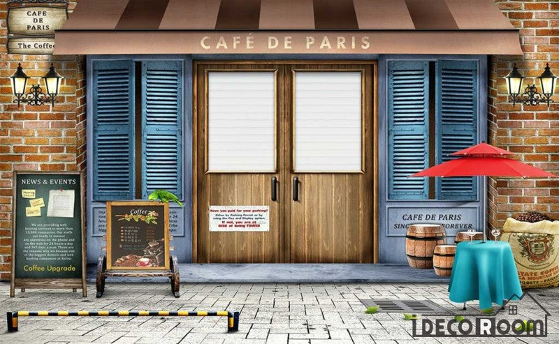 Cafe De Paris Coffee Shop Background Restaurant Art Wall Murals Wallpaper Decals Prints Decor IDCWP-JB-001185