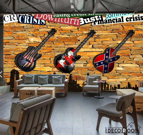 Image of 3D Electric Guitar Hanging Brick Wall Restaurant Art Wall Murals Wallpaper Decals Prints Decor IDCWP-JB-001186