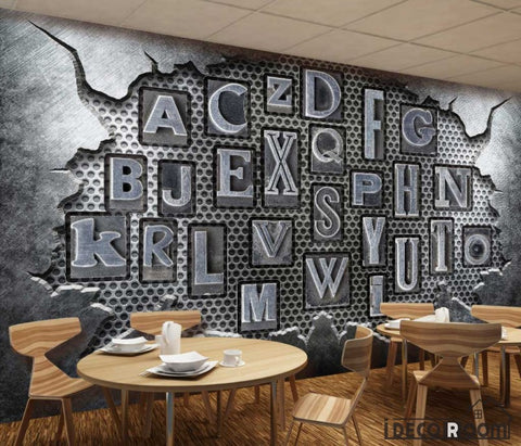 Image of Broken Metal Wall 3D Typography Letters Living Room Restaurant Art Wall Murals Wallpaper Decals Prints Decor IDCWP-JB-001187
