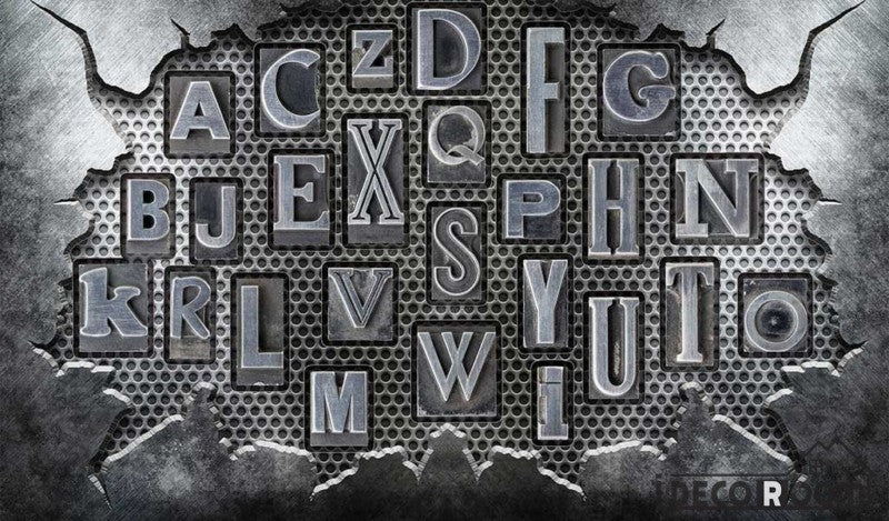 Broken Metal Wall 3D Typography Letters Living Room Restaurant Art Wall Murals Wallpaper Decals Prints Decor IDCWP-JB-001187