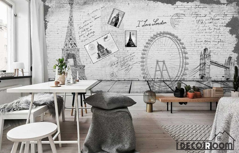 White Wall Drawing Eiffel Tower London Eye Tower Bridge Living Room Art Wall Murals Wallpaper Decals Prints Decor IDCWP-JB-001188