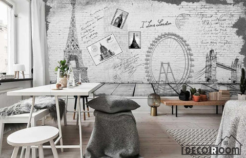 Image of White Wall Drawing Eiffel Tower London Eye Tower Bridge Living Room Art Wall Murals Wallpaper Decals Prints Decor IDCWP-JB-001188