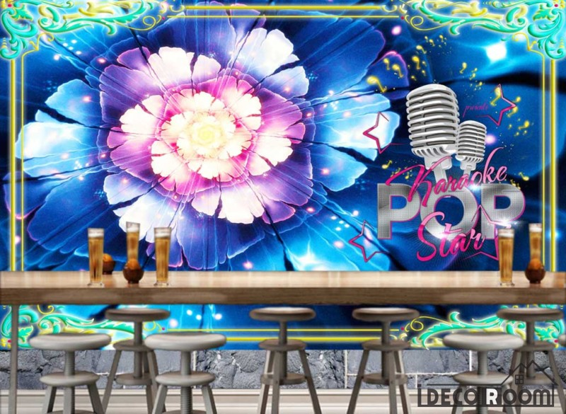 Graphic Design Colorful Flower Restaurant Art Wall Murals Wallpaper Decals Prints Decor IDCWP-JB-001191