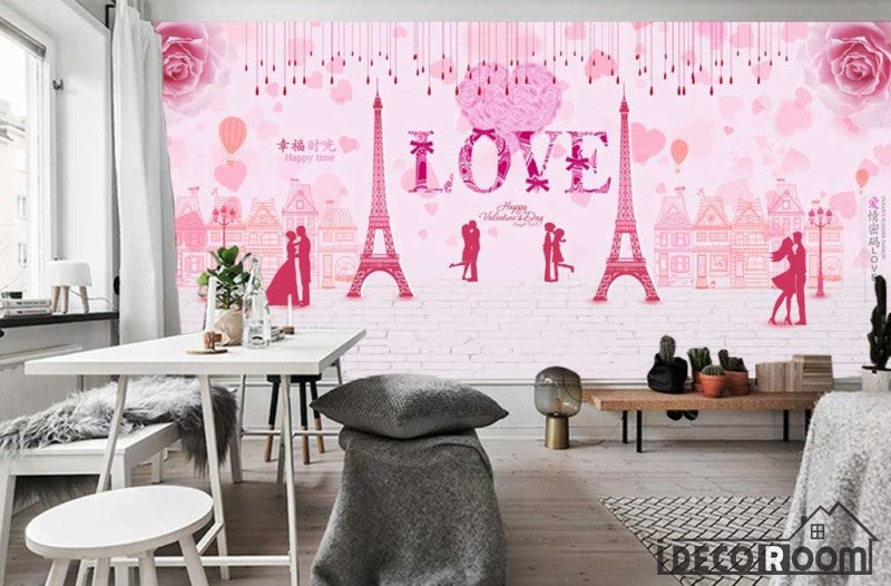 Pink Wall Drawing Eiffel Tower Love Living Room Art Wall Murals ...