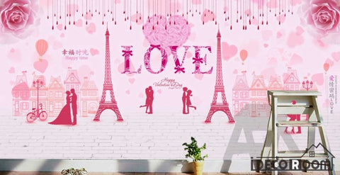 Image of Pink Wall Drawing Eiffel Tower Love Living Room Art Wall Murals Wallpaper Decals Prints Decor IDCWP-JB-001192
