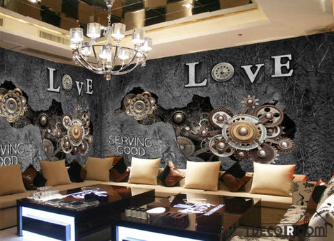 Image of Gear Braking Through Old Cement Wall Ktv Club Restaurant Art Wall Murals Wallpaper Decals Prints Decor IDCWP-JB-001194