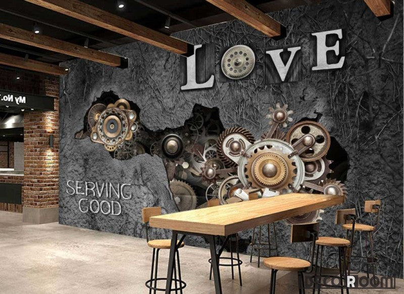Gear Braking Through Old Cement Wall Ktv Club Restaurant Art Wall Murals Wallpaper Decals Prints Decor IDCWP-JB-001194