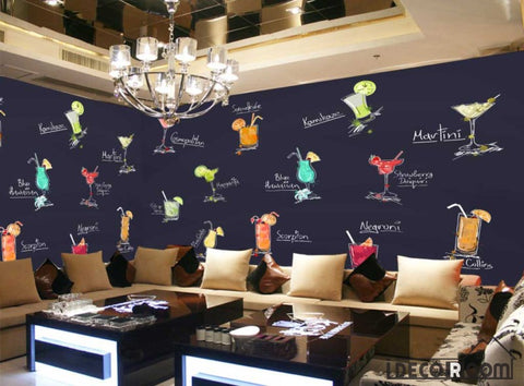 Image of Drawing Cocktail Drinks On Wall Restaurant Art Wall Murals Wallpaper Decals Prints Decor IDCWP-JB-001195