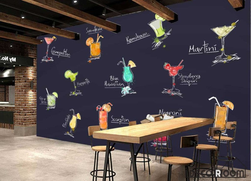 Drawing Cocktail Drinks On Wall Restaurant Art Wall Murals Wallpaper Decals Prints Decor IDCWP-JB-001195