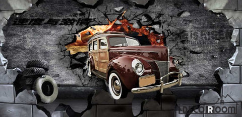 Image of Old Vintage Car Braking Through Black Cement Wall Ktv Club Art Wall Murals Wallpaper Decals Prints Decor IDCWP-JB-001196