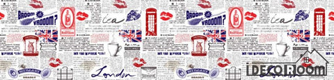 Image of Newspaper Wall Icon London Symbols Restaurant Art Wall Murals Wallpaper Decals Prints Decor IDCWP-JB-001197