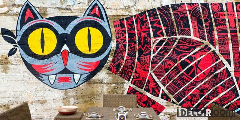 Graffiti Cat Art Restaurant Art Wall Murals Wallpaper Decals Prints Decor IDCWP-JB-001207