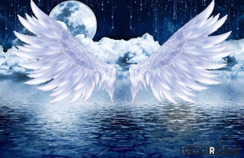 Graphic Design Background White Wings Big Full Moon