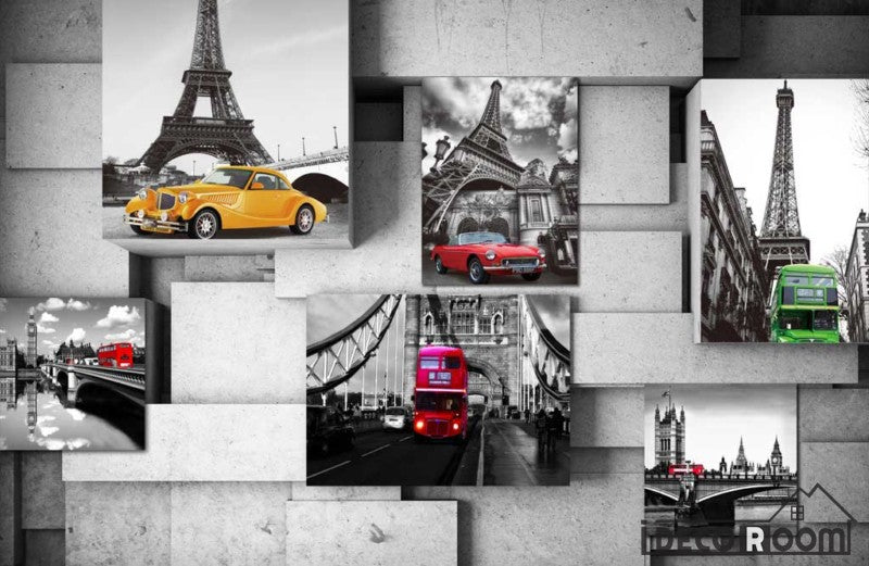 Poster Collage Black And White Monuments Colorful Cars Restaurant Art Wall Murals Wallpaper Decals Prints Decor IDCWP-JB-001214