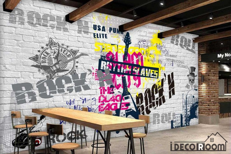 White Brick Wall Graphic Design Rock And Roll Letters Restaurant Art