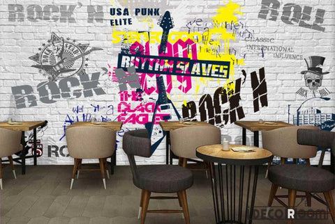 White Brick Wall Graphic Design Rock And Roll Letters Restaurant Art Wall Murals Wallpaper Decals Prints Decor IDCWP-JB-001215