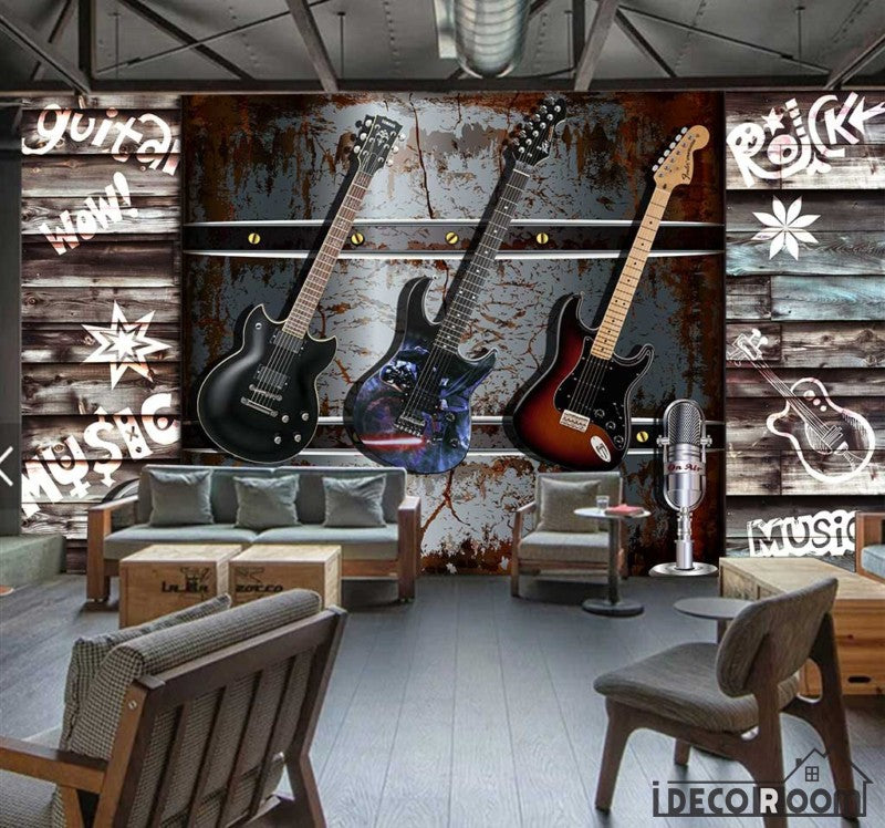 3D Electric Guitar Hanging Metal Wall Restaurant Art Wall Murals Wallpaper Decals Prints Decor IDCWP-JB-001216