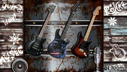 Image of 3D Electric Guitar Hanging Metal Wall Restaurant Art Wall Murals Wallpaper Decals Prints Decor IDCWP-JB-001216
