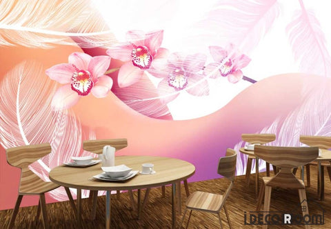 Image of Colorful Photography Woman Body White Feather Restaurant Art Wall Murals Wallpaper IDCWP-JB-001228