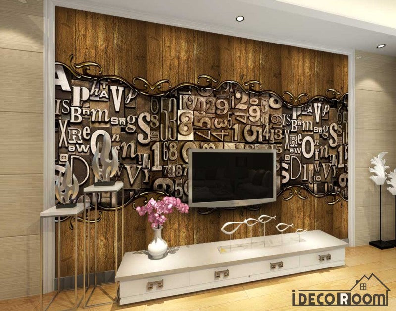 Wooden Wall 3D Typographic Letters Living Room Art Wall Murals