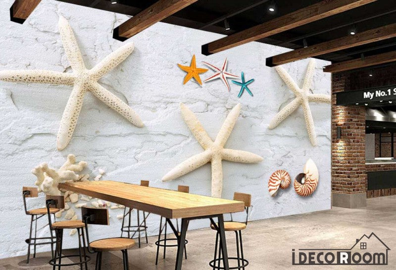 3d white starfishes on white wall living room restaurant art wall murals wallpaper decals prints decor