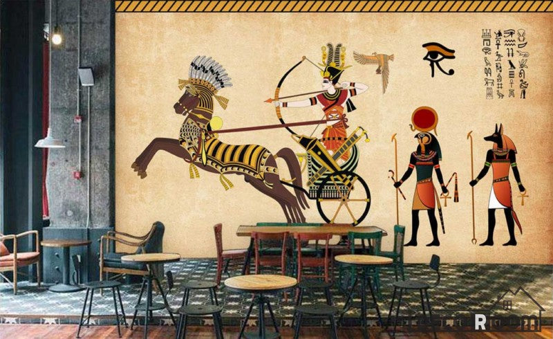 Old Egyptian Drawing In Wall Restaurant Art Wall Murals Wallpaper