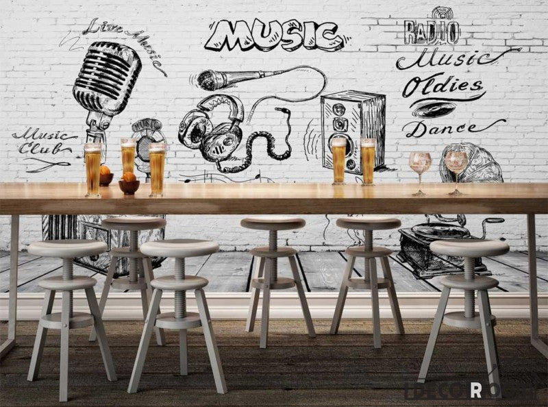 White brick wall black and white drawing music restaurant bar art wall murals wallpaper decals prints