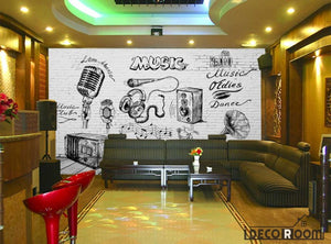 White Brick Wall Black And White Drawing Music Restaurant Bar Art Wall Murals Wallpaper Decals Prints Decor IDCWP-JB-001237