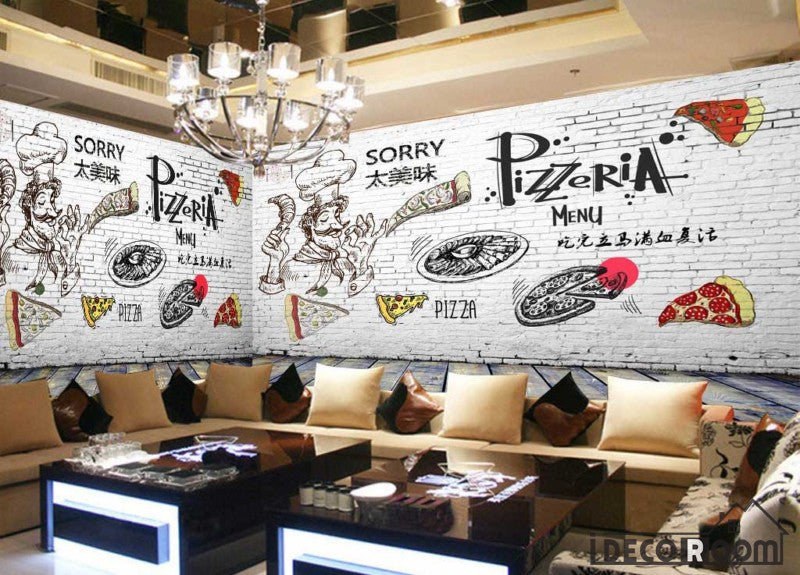 White Brick Wall Black And White Drawing Pizza Pizzeria Restaurant Art Wall Murals Wallpaper Decals Prints Decor Idcwp Jb 001239