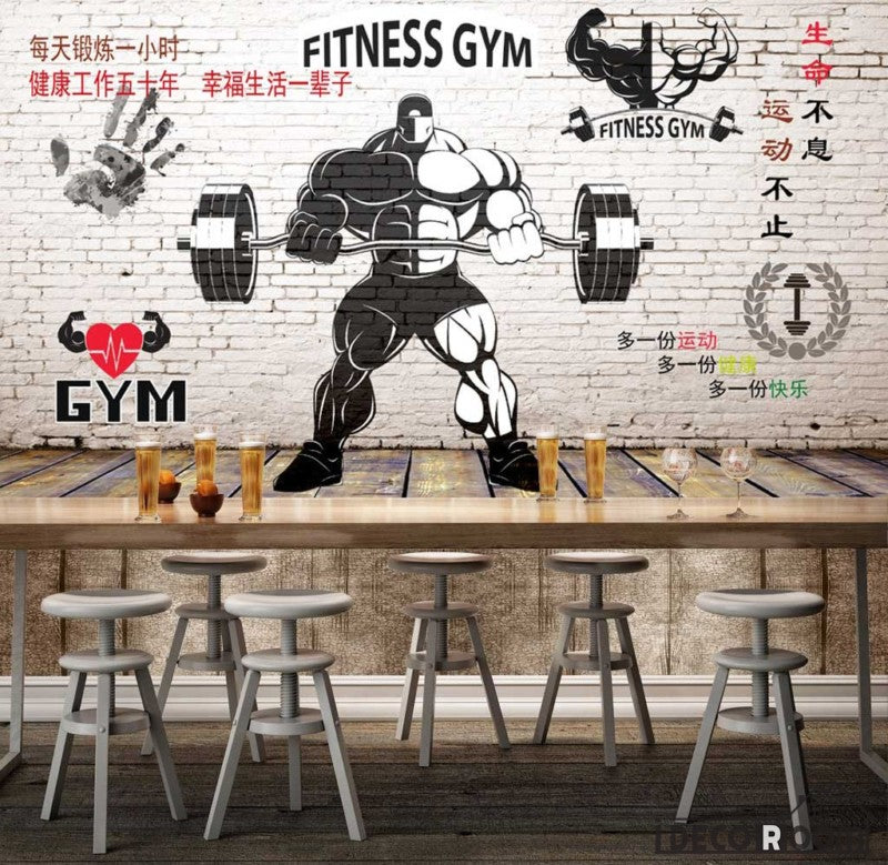 White Brick Wall Black And White Fitness Gym Drawing Restaurant Art
