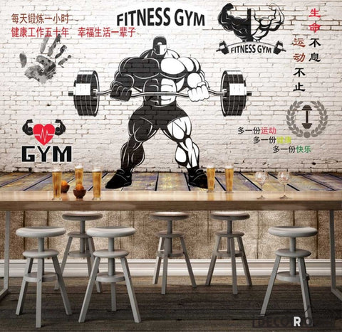 White Brick Wall Black And White Fitness Gym Drawing Restaurant Art Wall Murals Wallpaper Decals Prints Decor IDCWP-JB-001240