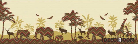 Vintage Graphic Design African Animals Restaurant Art Wall Murals Wallpaper Decals Prints Decor IDCWP-JB-001248